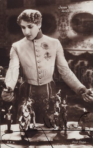 Jean Weber, French actor, in a scene from L'Aiglon, a 1931 film, directed by Viktor Tourjansky, adaped from the play by Edmond Rostand. The film starred Weber in the role of Napoleon II, Duke of Reichstadt. The photograph is signed by Weber.