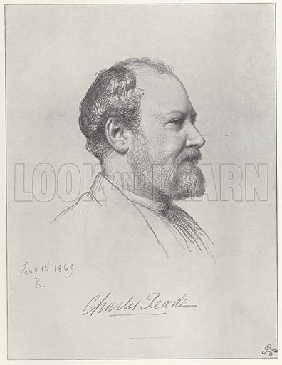 Charles Reade, English novelist and playwright, and a facsimile of Reade's signature, dated 1 January 1869.