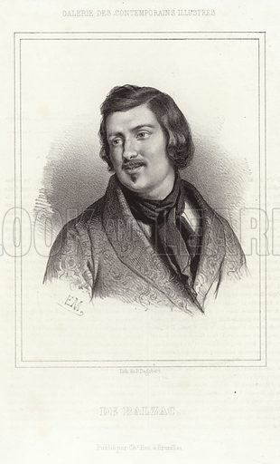 Honore de Balzac, French novelist and playwright. After E M, lithograph by P Degobert. Published by Chez Hen, Brussels.