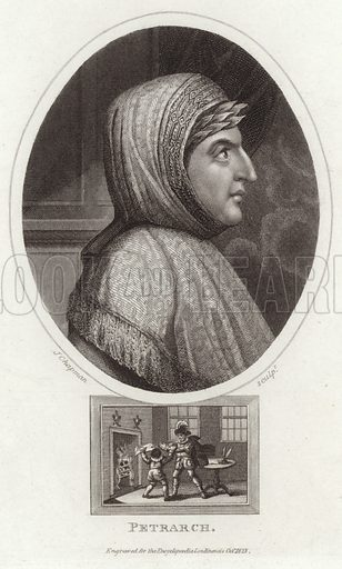 Francesco Petrarca. Italian scholar and poet. Engraved by John Chapman, for the Encyclopaedia Londinsis, Octiober 1823.