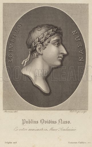 Publius Ovidius Naso, popularly known as Ovid, Roman poet. Drawn by Burneius, engraved by Robert Cooper. Published by Delphin and Variorum Classics, 1821.
