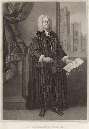 Jonathan Swift, Irish satirist, essayist and political pamphleteer. After Francis Bindon, engraved by Edward Scriven.