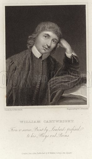 William Cartwright, English dramatist and churchman. Drawn by G Glint, engraved by WC Edwards. From a scarce print by Lombart prefixed to his plays and poems. Published on 1 January 1824 by W Walker, 5 Grays Inn Square, London.
