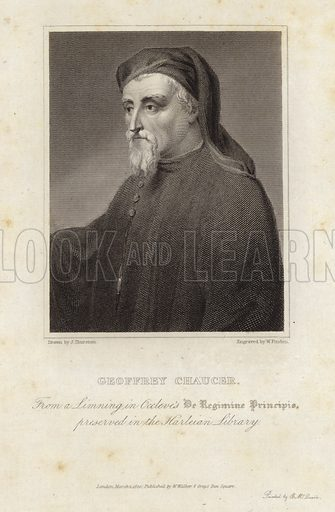 Geoffrey Chaucer, English poet considered the 'Father of English literature'. Drawn by Thurtson from a linning in Occleve's De Regimine Principis preserved in the Harleian Library, engraved by W Finden. Published by W Walker, 8 Grays Inn Square, London.