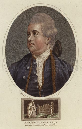 Edward Gibbon, English historian and member of Parliament, notable for his work, The History of the Decline and Fall of the Roman Empire. Engraved by John Chapman. Published as the act directs on 1 August 1807, by J Wilkes.