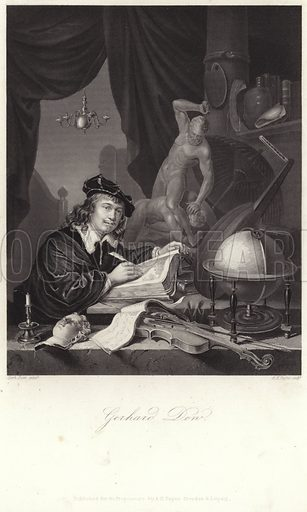 Gerrit Dou, Dutch painter. After Dou, engraved by A H Payne. Published for the proprietors by A H Payne, Dresden and Lepizig.