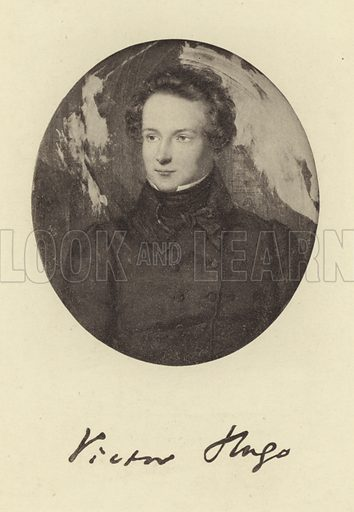 Victor Hugo, French poet, novelist and dramatist. With a facsmile of Hugo's signature.