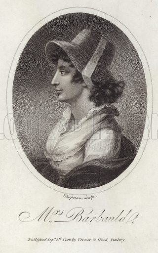 Anna Laetitia Barbauld, English poet, literary critic and children's author. Engraved by John Chapman. Published by Vernor & Hood, Poultry, London, on 1 September 1798.