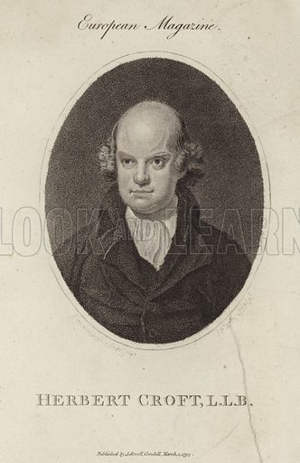 Sir Herbert Croft, 5th Baronet, English author. Published in the European Magazine, by J Sewell, Cornhilll, London, on 1 March 1794.
