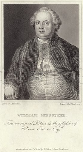 William Shenstone, English poet. From an original picture in the possession of William Roscoe. Drawn by J Thurston, engraved by F Engleheart. Published by W Walker, 8 Grays Inn Square, London, on 3 September 1821.