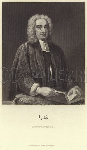 Jonathan Swift, Irish satirist, essayist and political pamphleteer. With a facsmile of Swift's signature. Engraved by W Holl. Published by A Fullerton & Co, London & Edinburgh.