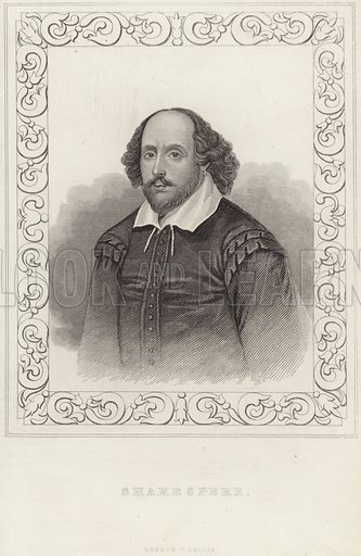 William Shakespeare, English poet and playwright. Published by L Tallis, London. After the Chandos portrait, artist unknown.