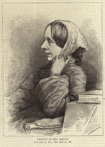 Jane Welsh, wife of Thomas Carlyle, Scottish philosopher, satirist and historian. Engraved by Blanpain. Published in The Graphic, 12 February 1881.