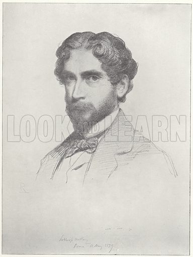 John Lothrop Motley, American historian, dated 11 May 1859. With a facsmilie of Motley's signature. Drawn by Rudolf Lehmann.