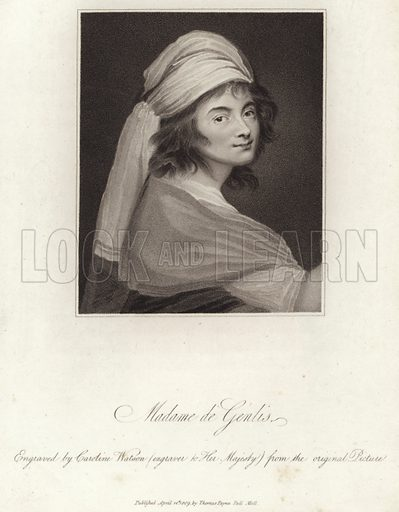 Madame de Genlis, French writer and harpist. Engraved by Caroline Watson (engraver to Her Majesty) from the original picture. Published by Thomas Payne, Pall Mall, London, on 14 April 1809.