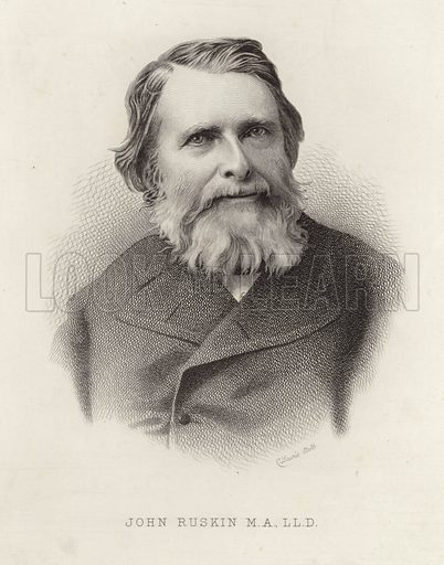 John Ruskin, English art critic, draughtsman, watercolourist, a prominent social thinker and philanthropist. Etching by C Lawrie.