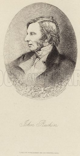 John Ruskin, English art critic, draughtsman, watercolourist, a prominent social thinker and philanthropist. After a photograph by Elliott & Fry Studio, engraved by S Haydon. Published by JF Dexter, London, 1884.