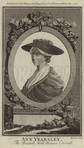 Ann Yearsley, English poet and writer. Published by Alexander Hogg at the Kings Arms, No 16 Paternoster Row, London, 1 January 1787. Engraved by Lowry.