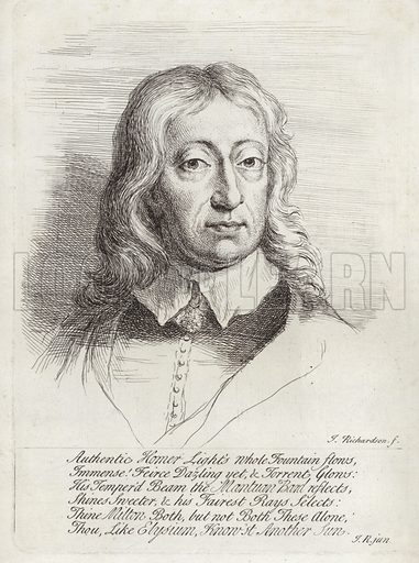 John Milton, English poet, polemicist and scholarly man of letters. By Jonathan Richardson after a portrait attributed to William Faithorne, with the inscription, 'Authentic Homer Light's whole Fountain flows, Immense! Feirce Dazling yet, & Torrent Glows: His Temper'd Beam the Mantuan Band reflects, Shines Sweeter, & his Fairest Rays Selects: Thine Milton Both, but not Both These Alone, Thou, Like Elysium, Know'st Another Sun.'.