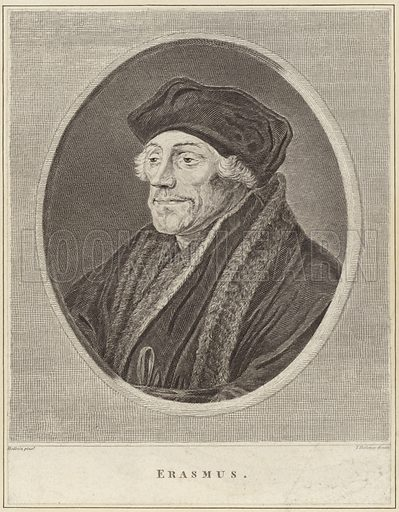 Desiderius Erasmus, Dutch Renaissance humanist, Catholic priest and theologian. After Hans Holbein, engraved by T Holloway.
