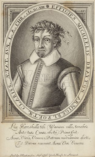 Michael Drayton, English poet. Published by W Richardson, 1 September 1796, York House, 31 Strand, London.