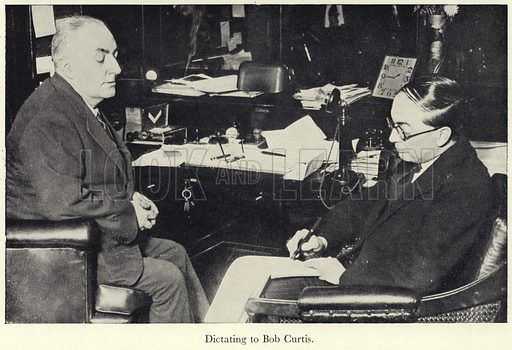 Edgar Wallace, English crime writer, journalist, novelist, screenwriter and playwright, dictating to Bob Curtis.