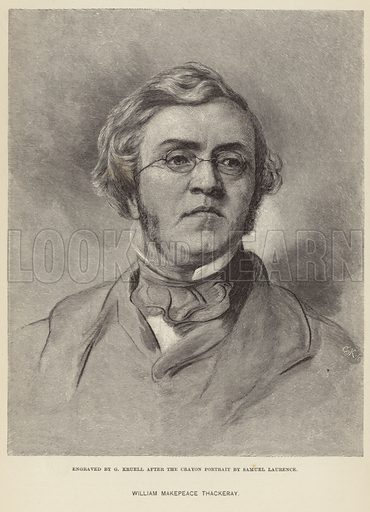 William Makepeace Thackeray, English novelist. Engraved by G Kruell after the crayon portrait by Samuel Laurence.
