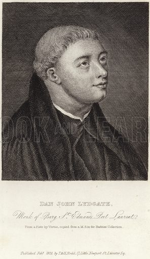 John Lydgate of Bury, English monk and poet. Monk of Bury St Edmunds and Poet Laureate. From a plate by George Vertue, copied from a MS in the Harleian Collection. Published February 1822 by T & H Rodd, 17 Little Newport Street, Leicester Square, London.