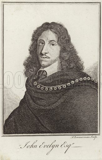 John Evelyn, English writer and diarist. Engraved by A Bannerman.