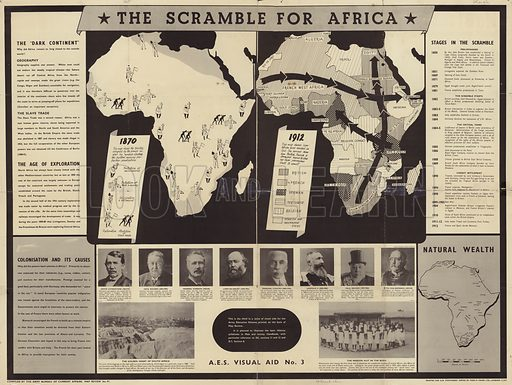 The Scramble for Africa, the third in a series of visual aids for the Army Education Scheme (AES), printed on the back of Map Review. It is planned to illustrate the later History syllabuses in Man and Society handbook, with particular reference to D5, sections 11 and 12 and D7, section 8. With maps of Africa in 1870 and 1912, surrounded by panels of text and portraits of politicians and political leaders (David Livingstone, Cecil Rhodes, General Gordon, Lord Salisbury, Marshal Lyautey, King Leopold II, Paul Kruger and Otto von Bismarck. Printed for HM Stationery Office by Fosh & Cross Limited, London.