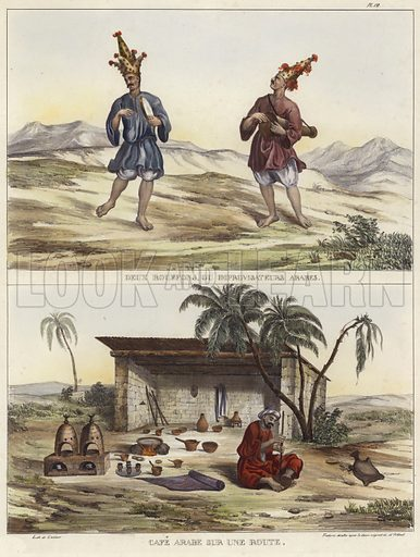 Two clowns in Arabic costumes above an image depicting Arabic coffee on the road. Lithograph after an original design by Jean Jacques Rifaud.