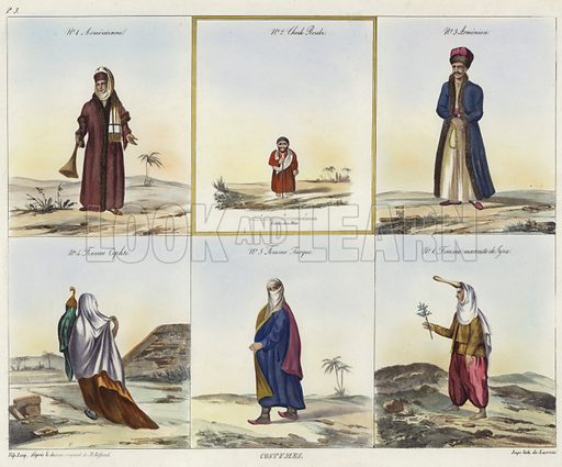 Costumes, No 1 Armenian woman, No 2 Sheik, No 3 Armenian man, No 4 Coptic woman, No 5 Turkish woman, and No 6 a Syrian woman. After original designs by Jean Jacques Rifaud, lithograph by J Lacroix.