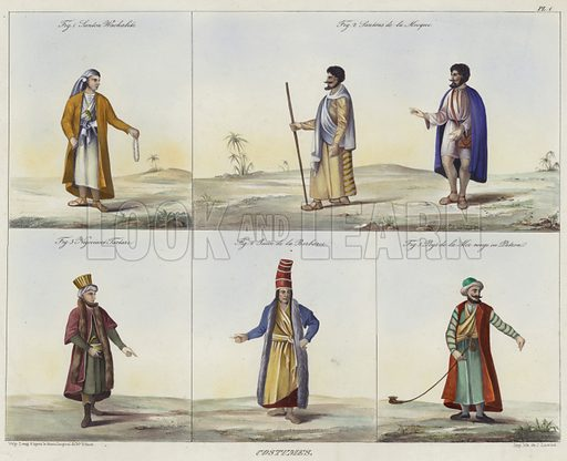Costumes, Fig 1 Figure of a Wahhabi Arab, Fig 2 Figures in Mecca, Fig 3 Figure in Tartary costume, Fig 4 Berber, and Fig 5 figure in Red Sea costume. After original designs by Jean Jacques Rifaud, lithograph by J Lacroix.