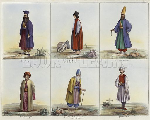 Costumes, Fig 1 Greek father, Fig 2 Greek youth, Fig 3 Dervish, Fig 4 Coptic figure, Fig 5 Dervish, and harnahout. After original designs by Jean Jacques Rifaud, lithograph by J Lacroix.