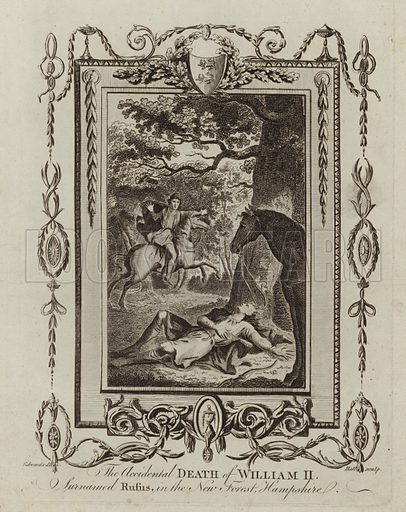 The accidental death of William II, surnamed Rufus, in the New Forest, Hampshire. Drawn by Edwards, engraved by Hall.
