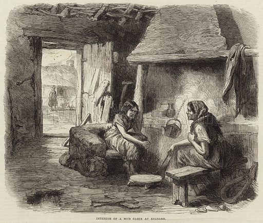 Sketches from Ireland: interior of a mud cabin at Kildare, County Kildare, Ireland. Published in a supplement to the Illustrated London News, 9 April 1870.