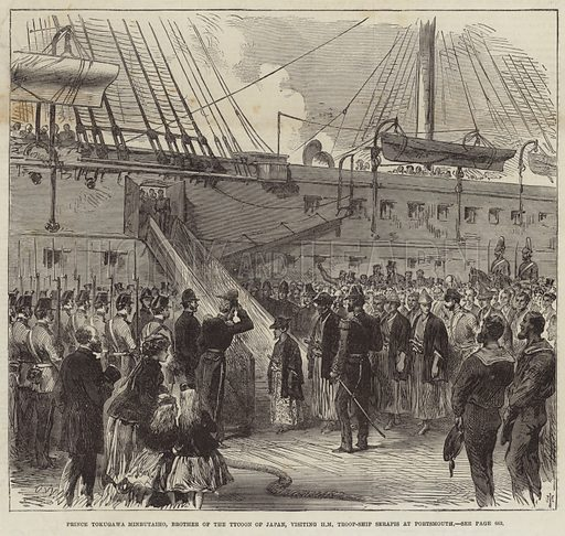 Prince Tokugawa Minbutaiho, brother of the tycoon of Japan, visiting Her Majesty's troopship Serapis at Portsmouth, Hampshiire. Published on the cover of the Illustrated London News, 21 December 1867.