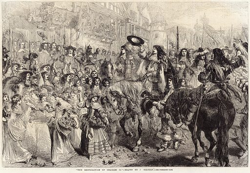 The Restoration of Charles II– drawn by J Gilbert. Published in the Illustrated London News, 1 June 1861.