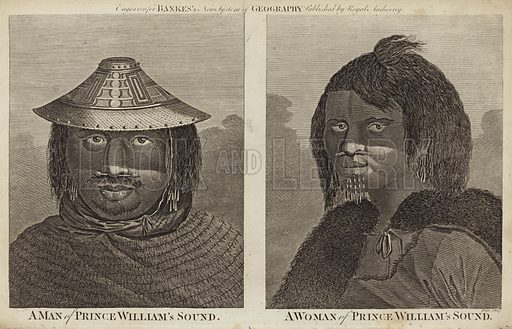 A man of Prince William's Sound (left) and a woman of Prince William's Sound. Engraved for Bankes's New System of Geography, published by Royal Authority.