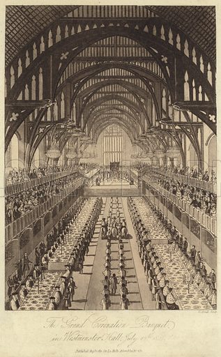 The Grand Coronation Banquet in Westminster Hall, July 19th, 1821. Engraved by W Read. Published.