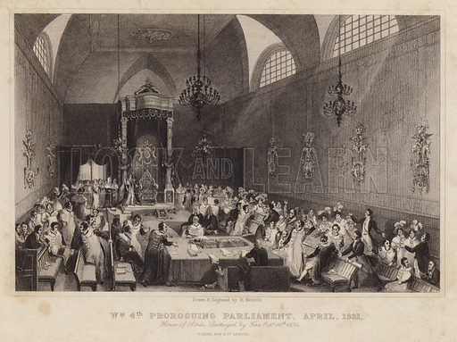 King William IV proroguing parliament, April 1831. House of Lords destroyed by fire, October 16th,1834. Drawn and engraved by Harden Sidney Melville. Published by Fisher & Co, London.