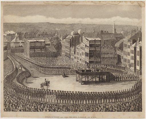 Execution of the Rebel Lords in 1745. Engraved by Neele & Stockley, 352 Strand.