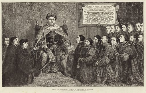 King Henry VIII presenting a charter to the College of Surgeons, from the picture by Holbein, in Barber Surgeons' Hall. Published in the Illustrated London News, 27 March 1886.