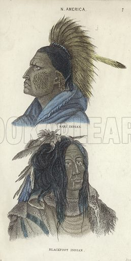 Portraits of a Saki Indian (top) and a Blackfoot Indian.