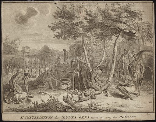 The initiation of young men into adulthood, a group of young African men preparing for an initiation ceremony, drawn by Abraham Moubach, engraved by Bernard Picart. Published in the French edition of Religious Ceremonies and Customs of the People of the World, circa 1725.