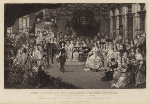 King Charles II and Elizabeth, Princess Palatine, his cousin, dancing at the Hague; from the original by Gheerart Janssen in the collection at Windsor Castle. Drawn by GP Harding, engraved by W Greatbatch. Published by Richard Bentley, London, 1851.