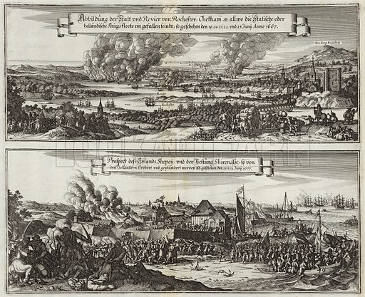 Dutch perspective on the naval raid on the Thames through Rochester, Chetham and the Isle of Sheppey, on 19, 20, 21, 22 and 23 June 1667. After the drawing by Willem Schellink, engraved by Romeyn de Hooghe. Published in 1677.
