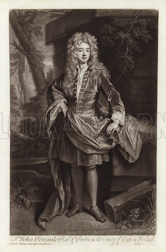 Sir John Percivale, Baronet of Burton in the County of Cork in Ireland. John Perceval, 1st Earl of Egmont, Anglo-Irish politician. From a portrait by Sir Godfrey Kneller, engraved by John Smith, 1704.