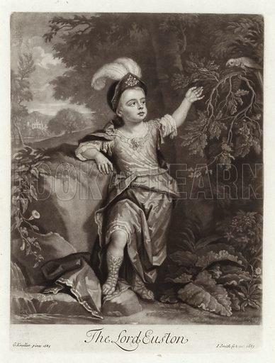Charles Fitzroy, 2nd Duke of Grafton, when The Lord Euston, from a portrait by Sir Godfrey Kneller, 1685, engraved by John Smith, 1689.