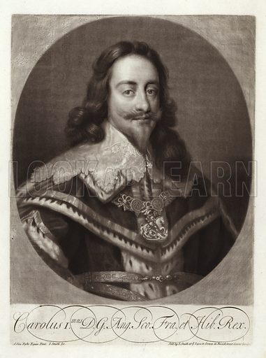 Charles I, King of England, King of Scotland, and King of Ireland, wearing a lace collar and robes with a chain (Carolus I. mus DG Ang. Sco. Fra. et Hib. Rex). From a portrait by Sir Anthony van Dyck, engraved and sold by John Smith at the Lyon and Crown in Russell Street Covent Garden.